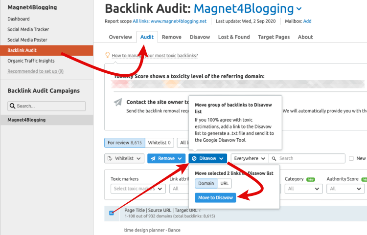 Clean up your backlinks after negative SEO attack